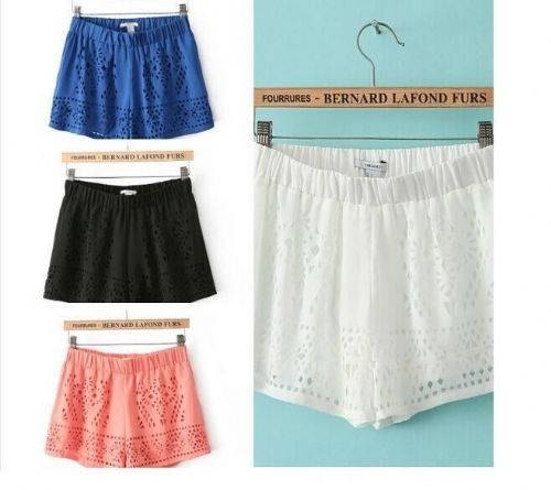 Women Chiffon Hollow Out Elastic Waist  Casual Hot Pants Beach Shorts
